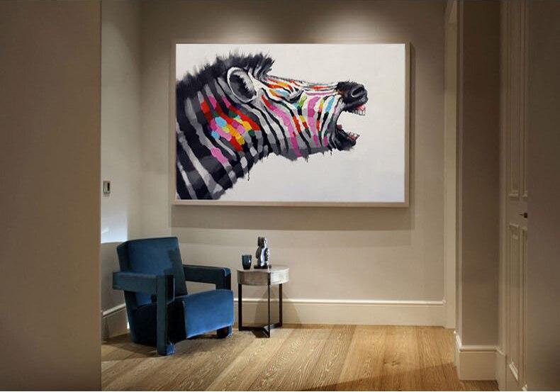ღ ღCésar pintura al óleo moderna en lona pintura abstracta cebra ...