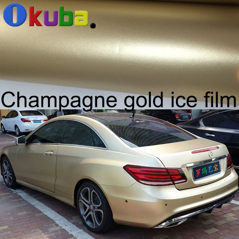 Auto Vinyl Wrap >> filme xxx Picture - More Detailed Picture about Satin Champagne Gold Vinyl Car Wrap Matte Chrome ...