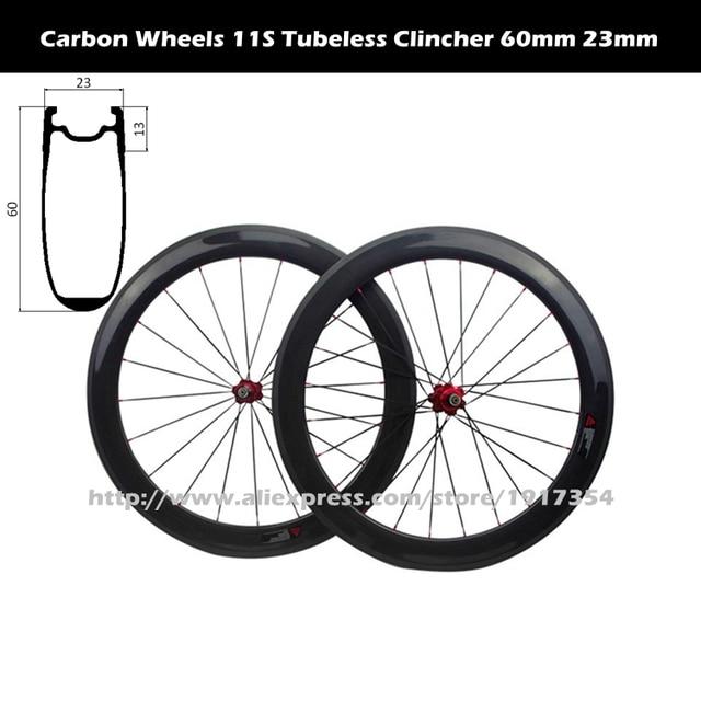 Aero U Shape 60mm Carbon Clincher Wheels Tubeless Compatible 700c