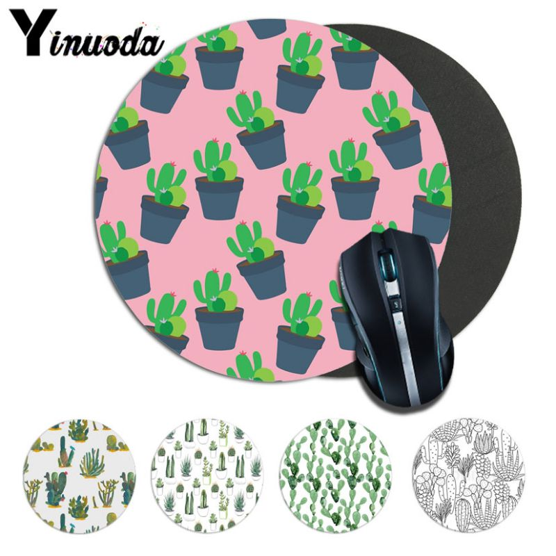 Yinuoda New Design cactus Computer Gaming Lockedge Mousemats Size for 20*20cm 22*22cm round mousepad Rubber Rectangle Mousemats
