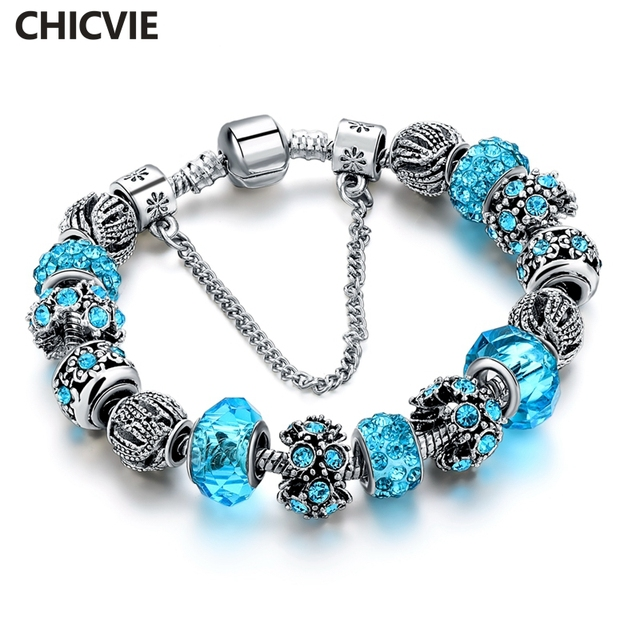 CHICVIE Blue Crystal Charm Friendship Bracelets & Bangles For Women Trendy Silver Color Wedding DIY Jewelry Bracelets SBR160158