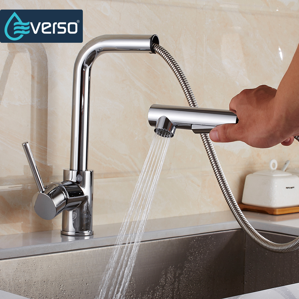 EVERSO Kitchen Faucet Pull Out Sink Mixer Tap Kitchen Taps Spray ...