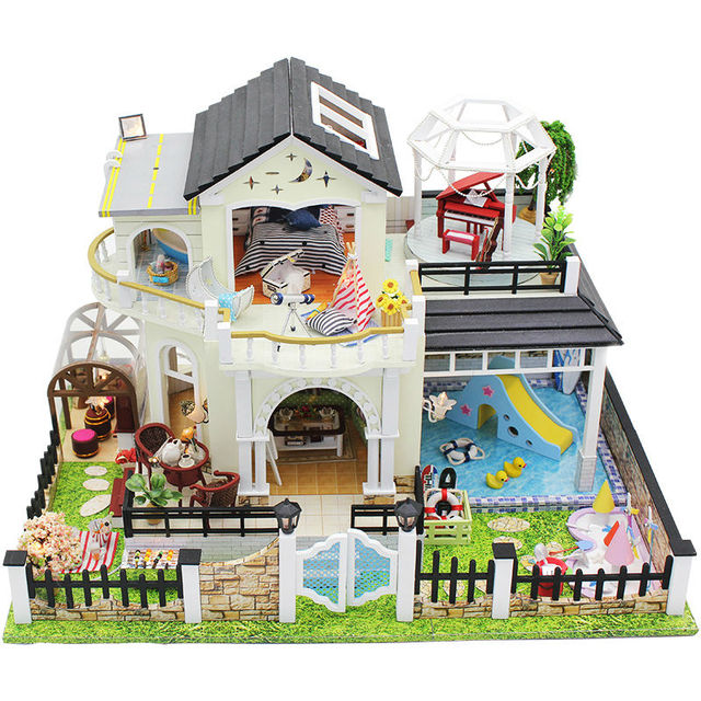 Doll House miniature 3D Wooden Puzzle Dollhouse Diy manual cabin assembled gift educational toys miniature villa to model scene