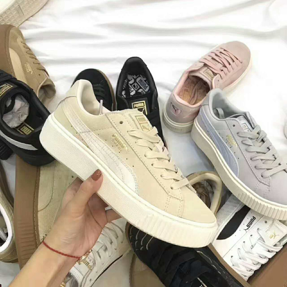 Genuine PUMA x FENTY Suede Cleated Creeper Men's Women's Second Generation Rihanna Classic Basket Tone Simple Badminton Shoes