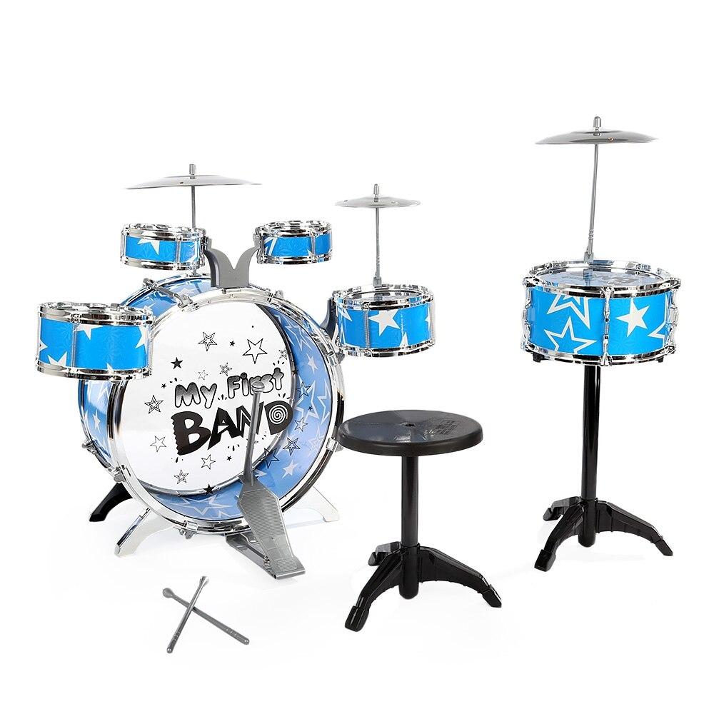 Platillos taburete Navidad cumpleaños música sonido traje juguete instrumento Musical jazz kit niños simulación tambor Kit juguetes educativos