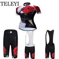 TELEYI 2016 Women Cycling Jersey Cycling Clothing Short Sleeve (Bib) Shorts Set Red Rose Quick-Dry