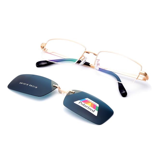 Gmei S91012 Magnética Polarizada Clip-On Óculos Óptico Frame Da Liga Aro Completo Óculos de Armação Retangular
