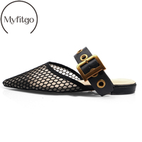 Myfitgo Brand Fashion Women Slide On Mules Net Mesh Women Casual Slippers All Leather Polka Dot Pointed Toe Slides on Flat Shoes