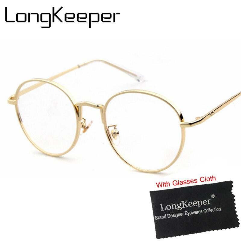 4053cebc304 Online Shop LongKeeper Round Glasses Frame Metal Alloy Eyewares Women Men  Clear Lens Glasses Retro Circling Frame Gold Black Brown P1910