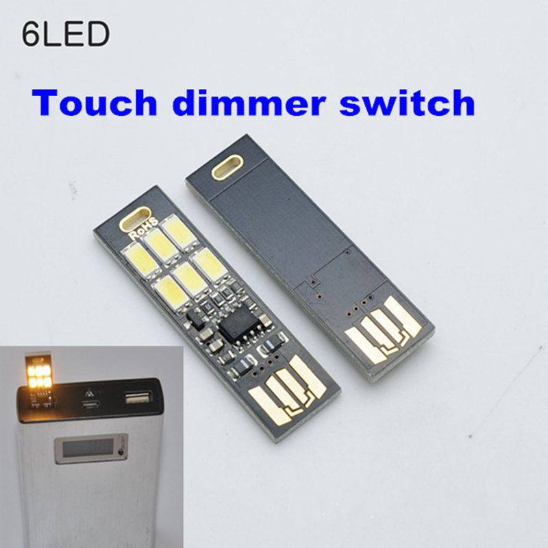 2pcs Portable Mini Usb Power Night Light 1w 5v 6led Light Lamp Touch