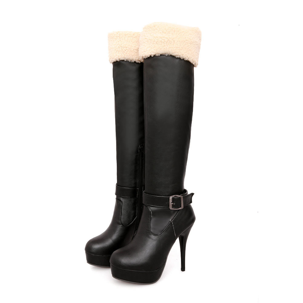 Brand New Winter Black White Women Knee Thigh High Platform Nude Boots Ladies Shoes AS8-8 Super High Heels Plus Big size 10 43 brand new fashion black yellow women knee high cowboy motorcycle boots ladies shoes high heels a 16 zip plus big size 32 43 10