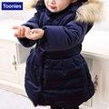 Jaqueta de inverno para As Meninas Casaco de Algodão Engrossado Para Baixo Revestimento das Crianças Arco-Nó para Meninas Parkas Para Baixo das Crianças casaco Roupa Dos Miúdos