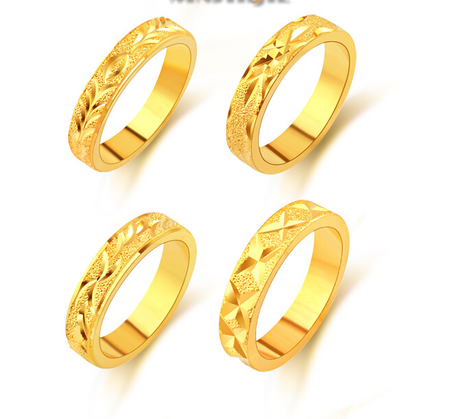 Gold Ring Men Women Gift Whole 24k Real Dubai Plated Thickness Clic Wedding