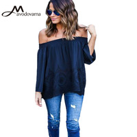 Avodovama M Slash Neck Sexy Women Blouse Ladies Solid Hollow Out Long Sleeve Casual Blouse Top