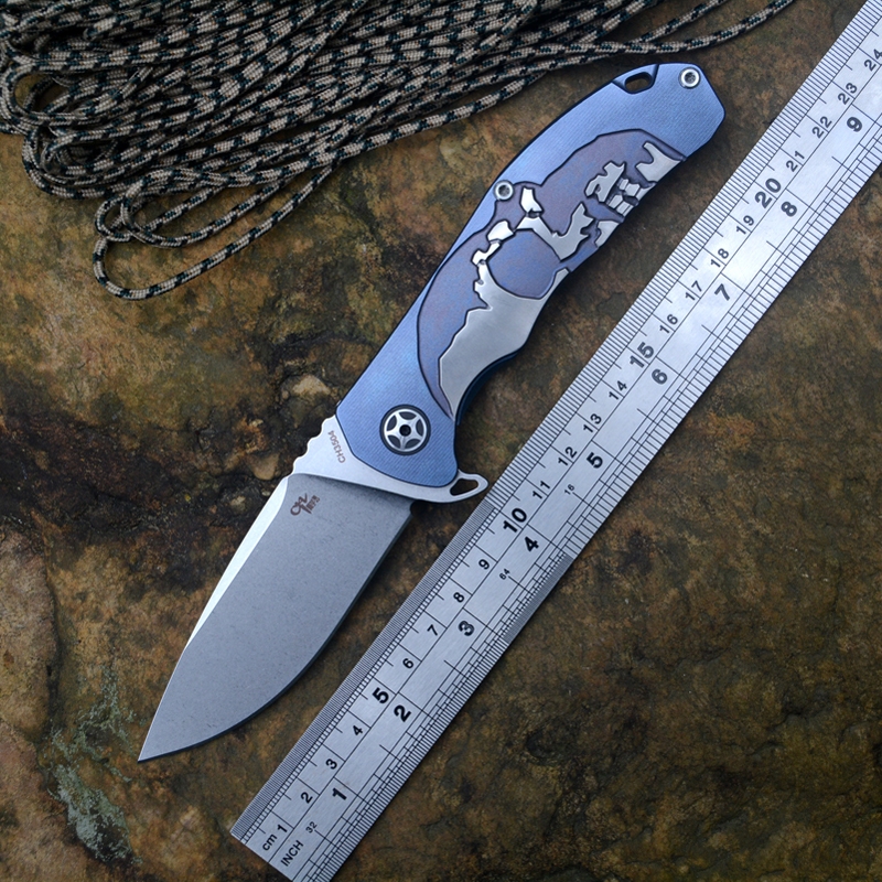 CH3504 S35VN blade folding knife ceramic ball bearing washer TC4 titanium handle blue or bronze hunting outdoors survival knife Knives     - title=