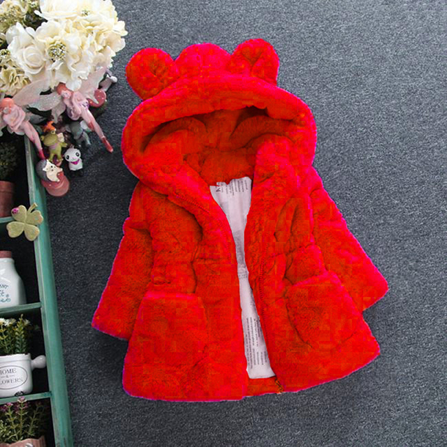Menoea Girls Coats Fashion Winter Warm Thickening Kids Outwear Cute Ear Hooded Coat Girls Costume Solid Children Clothing