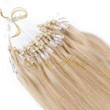 100 strands / pack anillo Micro Loop extensión del pelo 14 – 20 pulgadas europeo 7A pelo de la virgen recta armadura del pelo Huamn muchos colores