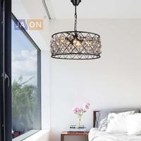 Led e27 American Iron Kristall Schwarz Klar Kronleuchter Beleuchtung Lamparas De Techo Suspension Leuchte Lampen Für Foyer Schlafzimmer|Kronleuchter|   -