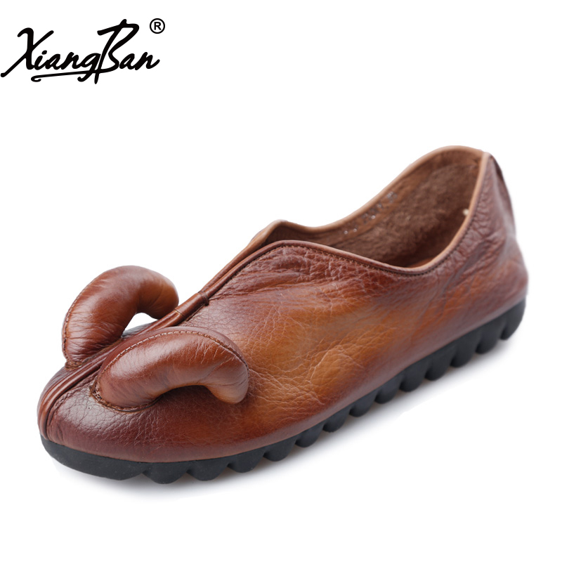 2018 Spring Casual Shoes Women Flats Loafers Soft Outsole Moccasin Women Flats Shoes Genuine Leather Xiangban 2018 new summer handmade breathable women s shoes genuine leather female hole loafers soft outsole casual shoes flats
