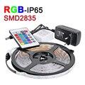 НОВЫЙ 5 М/лот RGB СВЕТОДИОДНЫЕ Ленты Водонепроницаемый IP65 2835 SMD Светодиодные DC12V 60 светодиодов/м С 24Key ИК-Пульт 2A Питания Рождество Ламп