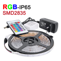 NEW 5M/lot RGB LED Strip Waterproof IP65 2835 SMD LED Light DC12V 60leds/m With 24Key IR Remote 2A Power Supply Christmas Lamps