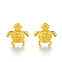 New Style Pure 999 Yellow Gold Turtles Stud Earrings 2.45g