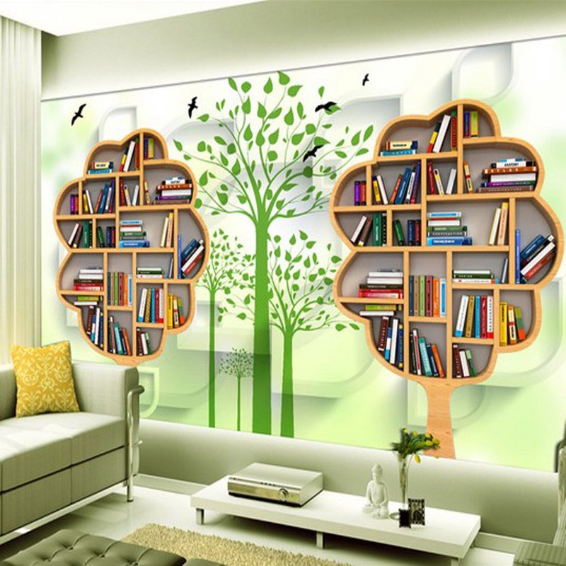 free shipping retro wallpaper letter personality bookshelf cafe bar background wall large 3d wallpaper murals