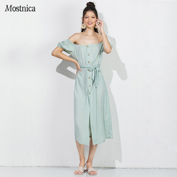 Mostnica Elegant Front Single Breasted Mint Long Sundress Strapless for Lady Lantern Sleeves Off Shoulder England Dress Woman