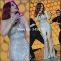 Ph15583 Saudita Celebrity Estrella Haifa Wehbe vestido hombro Sirena totalmente plata beads Celebrity Vestidos de Fiesta