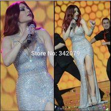 Ph15583 Saudita Celebridade Estrela Haifa Wehbe vestir fora do ombro Sereia totalmente prata beads Celebridade Vestidos de Festa(China (Mainland))