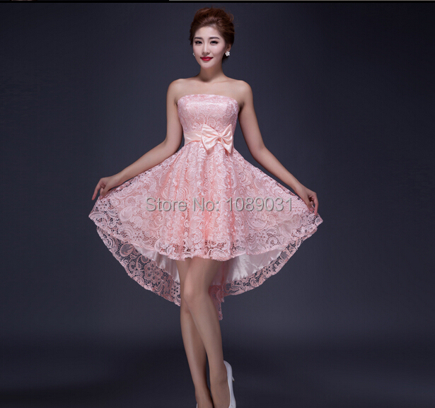 2015 Brand New Lace Evening Dress Bow Pink/Red/Champagne Elegant Special Occasion Dress Bride Gown Ball Prom Party Formal Dress