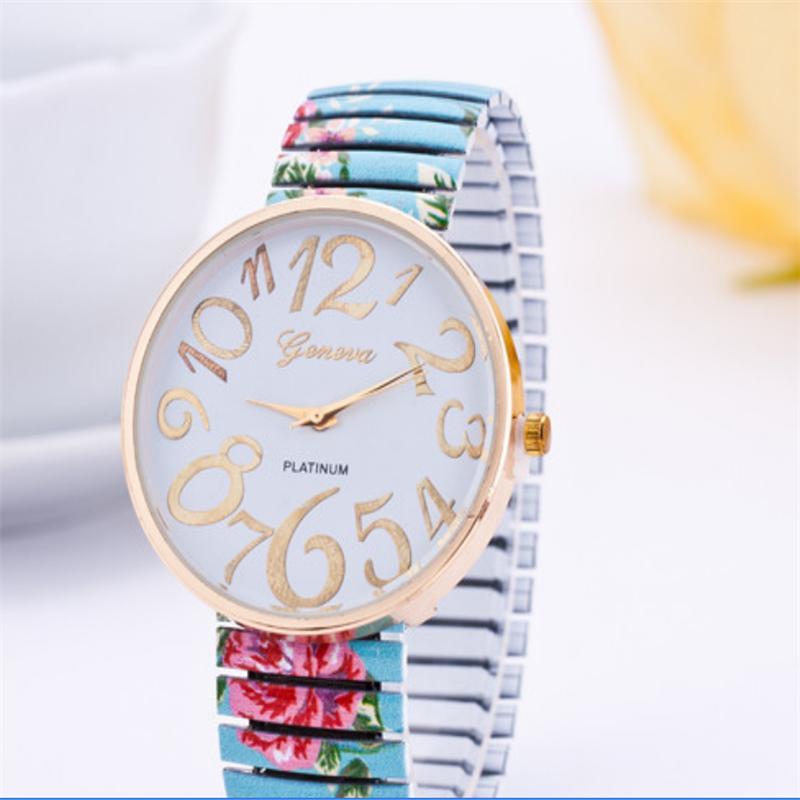 Women Ladies Elastic Strap Band Flower Print Floral Bracelet Quartz Wrist Watch Fashion Accessories