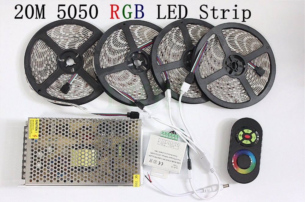20M SMD 5050 RGB LED Strip Light 60Leds/M LED Flexible Tape Rope Lights+18A Wireless Touch Remote Controller+DC 12V Power Supply led strip kit led strip light 3528 smd 20m 1200leds dc12v flexible led ribbon diode tape forrf touch remote 78w power supply