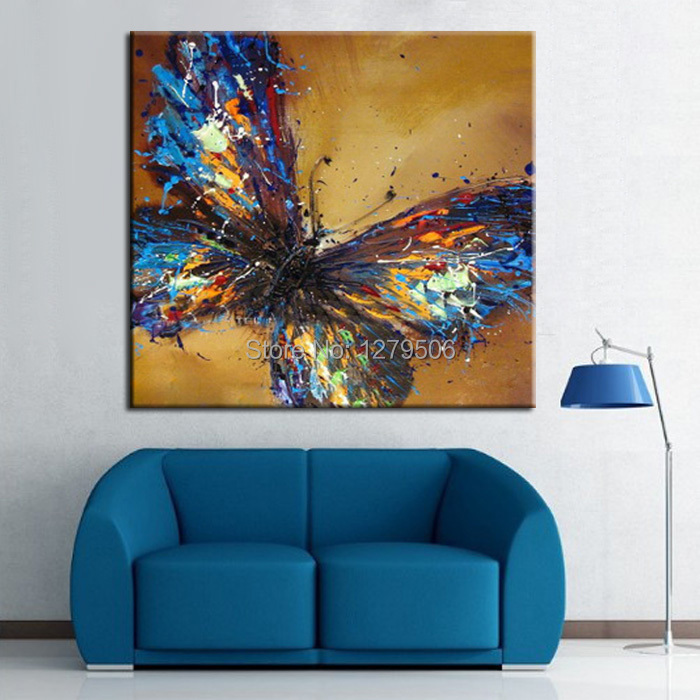 Handmade abstract adorable blue butterfly art oil painting on canvas animal paintings for living for Oil painting for living room