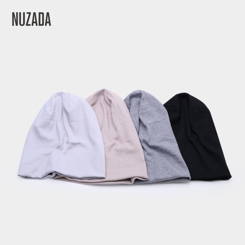 Brand NUZADA Knitted Caps Spring Winter Autumn Men Women   Skullies     Beanies   Double Material Cap Solid Color Simple Bonnet Hat