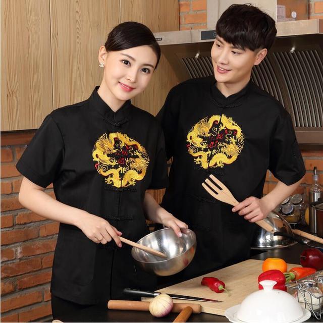Summer short sleeve chefs uniform chef shirt new chef waiter uniform Hotel restaurant kitchen short sleeve workwear cook jacket