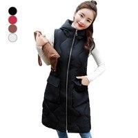 New Winter Warm Jacket Hooded Thicken Warm Long Casual Vests Winter Women Vests Lady Waistcoat Female Sleeveless Waistcoat