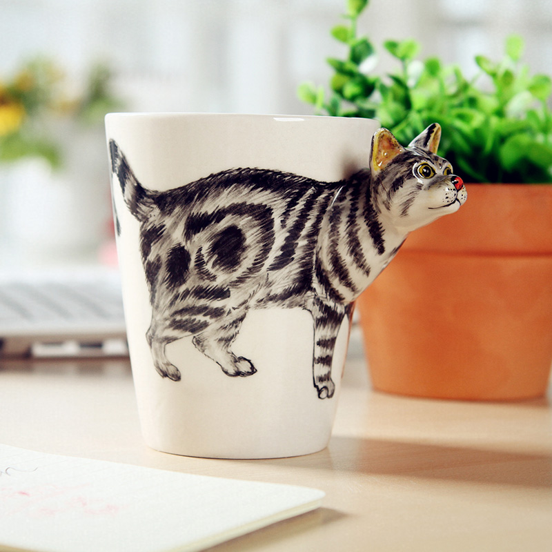 Madden Chinese Kung Fu Tea Set Hand Painted Ceramics First 3D Stereoscopic Animal Cups Mugs Cat
