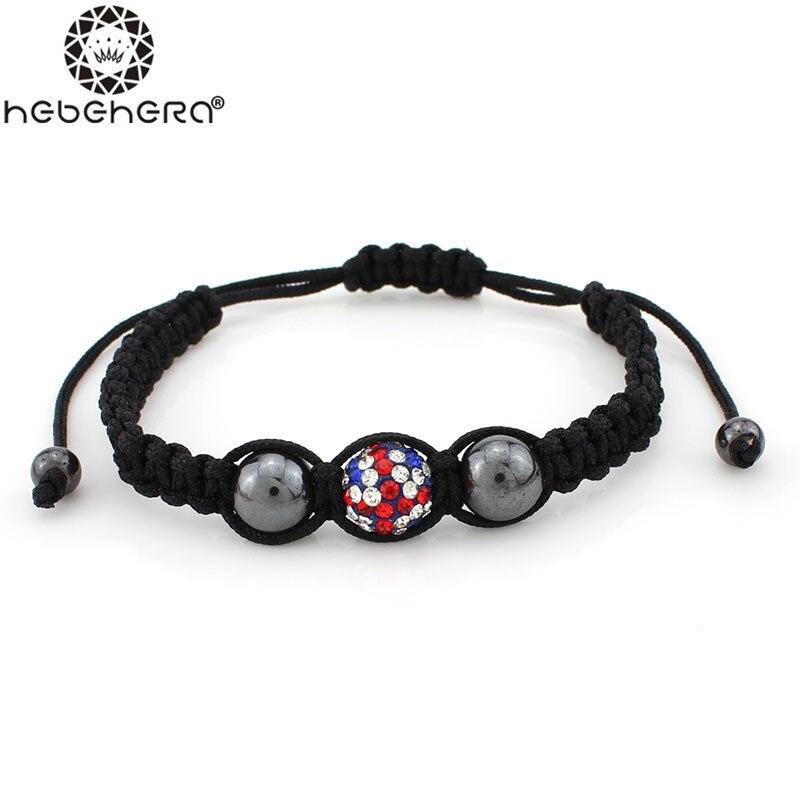 Gc035 New Arrival Uk Flag Bracelet Shambhala Style Pave Crystal Clay Hemae Beads For Women