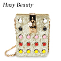 Hazy beauty New Spike brand design women knuckle box bag super chic and amazing lady shoulder chain lipstick glasses bag DH516