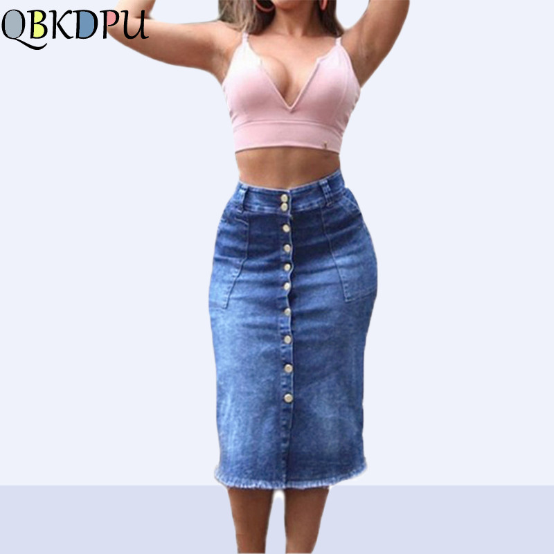 Button Front Denim Skirt For Women Casual High Waist Elastic Pencil Skirt Fray Hem With Pocket Knee Length Jeans Skirt Female