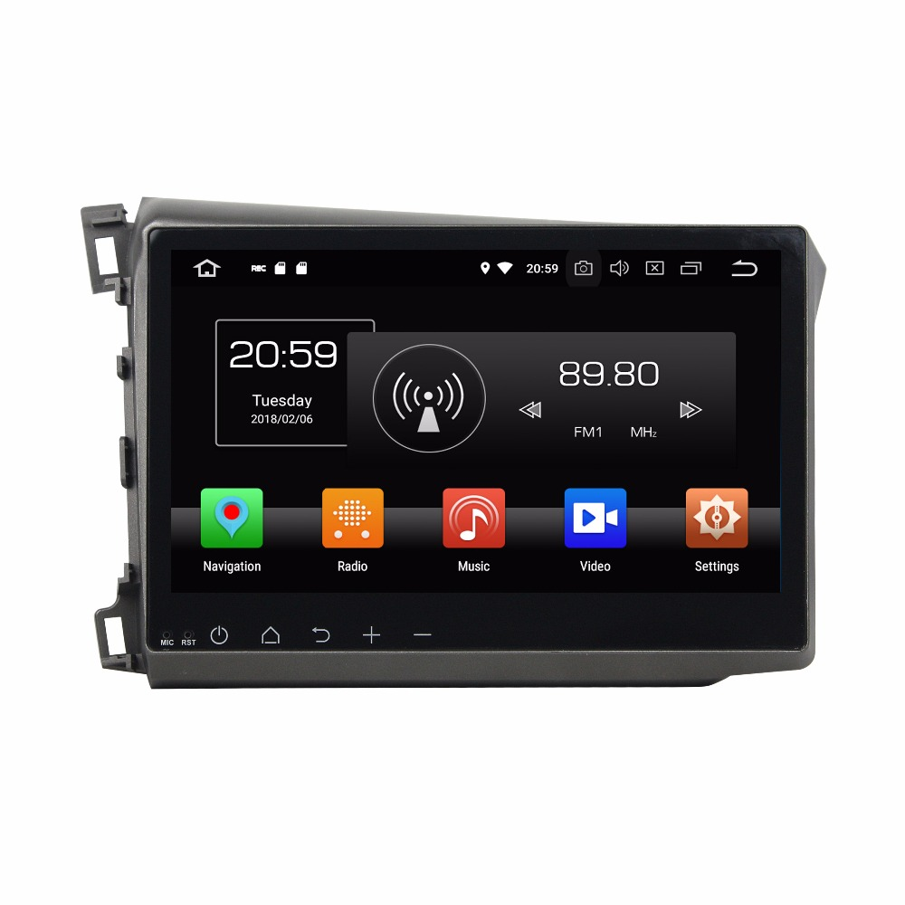 KLYDE 10.1 1 Din 8 Core Android 8.0 Car Multimedia Player For Honda CIVIC 2012 Car DVD Player 32GB