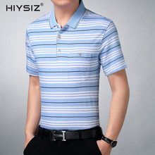 HIYSIZ New T-Shirt Men 2019 Casual Streetwear Striped Contracted Fashion Turn-down Collar Brand Male T shirt For Summer ST224
