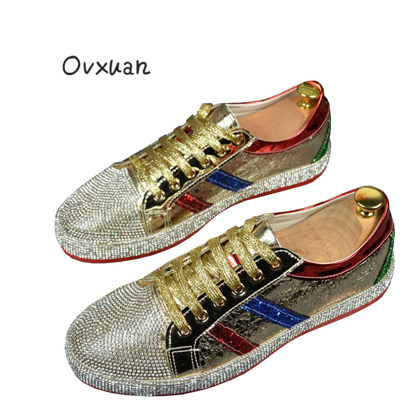 OVXUAN New Glitter Rhineston Sheet red Red bottom Luxury Brand Hip Hop Trainers shoes Runway Designer