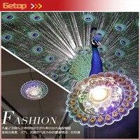Lámpara LED moderna de cristal para techo  6 unids/lote  instalación oculta/abierta  vestíbulo de pasillo  lámpara de pavo real/Flores de ratán