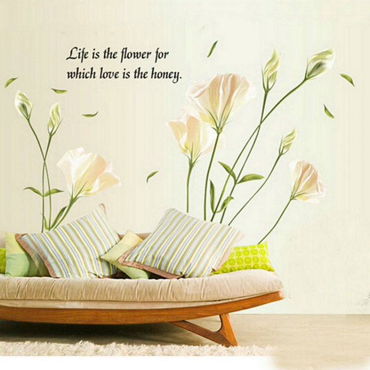 <font><b>Elegant</b></font> Lily Flower Removable Wallpaper <font><b>Home</b></font> <font><b>Decor</b></font> Art Decal PVC Wall Sticker