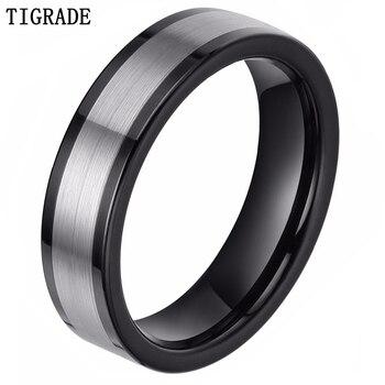 Tigrade, черный, серебристый цвет, 6 мм, вольфрамовое кольцо для мужчин и женщин, обручальное кольцо, модные ювелирные украшения на палец, вечерн...