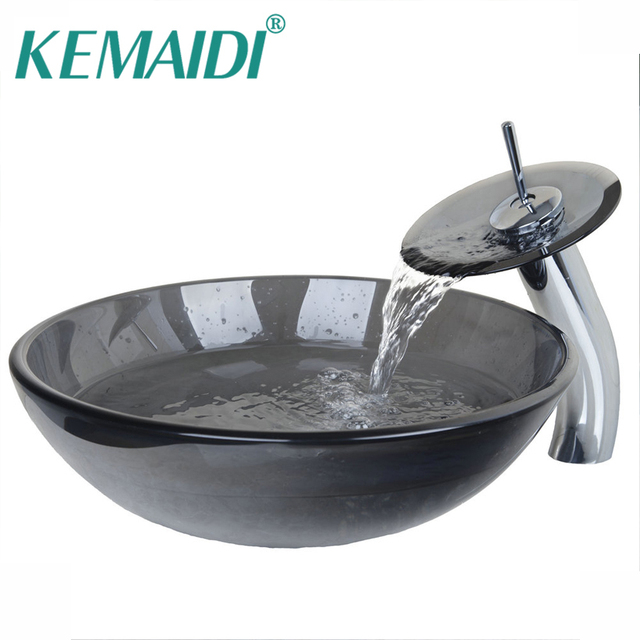 kemaidi modern tempered waterfall glass sink countertop washing basin hand painting wash basin sink bathroom sink - Wash Basin Sink