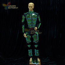 LED Clothes Luminous Clothing Illuminated Clothes Glowing Robot Dance Light Costumes Men EL Clothing Cold Light Party LED Suits