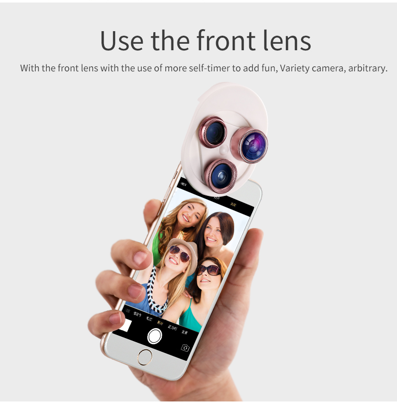 Fish eye Lens 4in 1 Clip-on Cell Phone Camera 180 Degree Fisheye Lens+Wide Angle CPL+Macro Lens for iPhone 7Plus Xiaomi & More 30